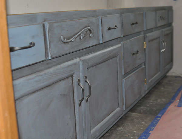 Painting Bathroom Cabinets Gray chalk painting a bathroom vanity - at home with jen
