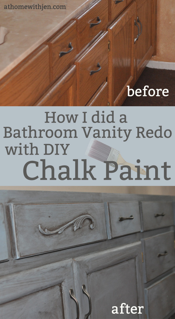 chalk painting a bathroom vanity  at home with jen, Bathroom decor