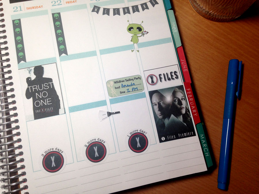 x-files planner stickers